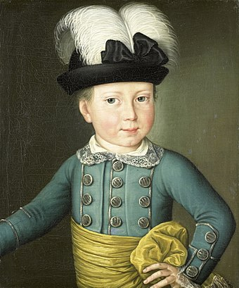Portrait of William (1775) Willem Frederik (1772-1843), prins van Oranje-Nassau (later koning Willem I), als kind Rijksmuseum SK-A-1476.jpeg