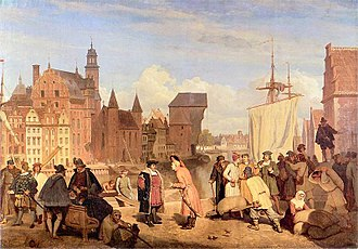 Trade - Danzig in the 17th century, a port of the Hanseatic League.