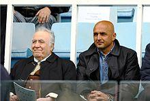 Spalletti nel 2006, assieme al presidente della Roma Franco Sensi, assiste alla finale della Wojtyła Cup