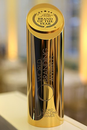 World Branding Forum - The World Branding Awards trophy is on display at the Museum of Brands, Packaging & Advertising in London