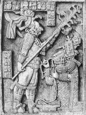Désiré Charnay - Lintel 24, Structure 23, Yaxchilan, as drawn by Désiré Charnay. The sculpture depicts a sacred bloodletting ritual which occurred 28 October 709. Yaxchilan ruler Shield Jaguar is shown holding a torch, while his wife Lady Xoc draws a rope through her pierced tongue. (109.7 x 77.3 cm)