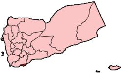 イエメン内のアデン県の位置の位置図