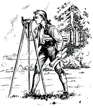 Tripod - Young George Washington using a surveyor's tripod
