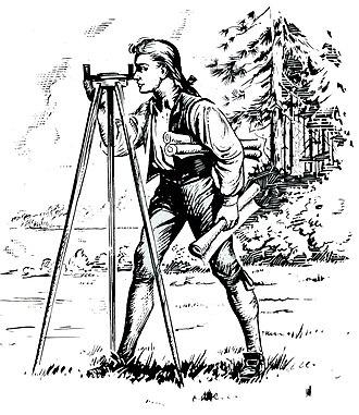 Tripod - Young George Washington using a surveyor's tripod