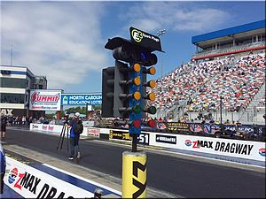 Christmas tree (drag racing) - The four-lane LED CompuLink Christmas Tree with blue staging bulbs (post-2011) currently in use at zMax Dragway near Charlotte, North Carolina.