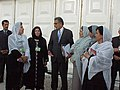 Zalmay Khalilzad speaking to Afghan women in 2002.jpg