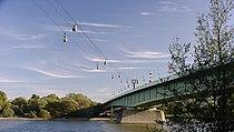Zoobrücke (Zoo bridge) and Rheinseilbahn over the Rhine in Cologne, Germany.jpg