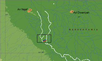Battle of Ullais - The site of the Battle of Ullais, showing Muslim army (in red) and Sassanid army (in blue).