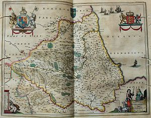 Diocese of Durham - old map of the bishopric of Durham
