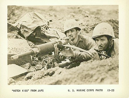 "Two Marines using a ""Hotch Kiss"" From the Japanese, 1945 ""Hotch Kiss"" From Japs, 1945 (16989117215).jpg"