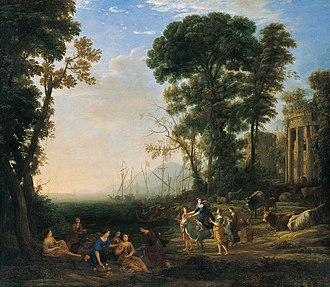 1634 in art - Image: 'Coast Scene with Europa and the Bull', oil on canvas painting by Claude Lorrain