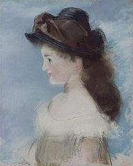 Portrait de Mademoiselle Hecht, de profil en chapeau