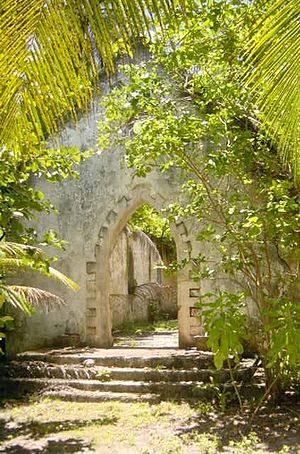 Chagossians - Abandoned church at Boddam Island, Salomon Atoll.