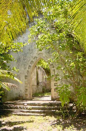 Chagossians - Abandoned church at Boddam Island, Salomon Atoll.