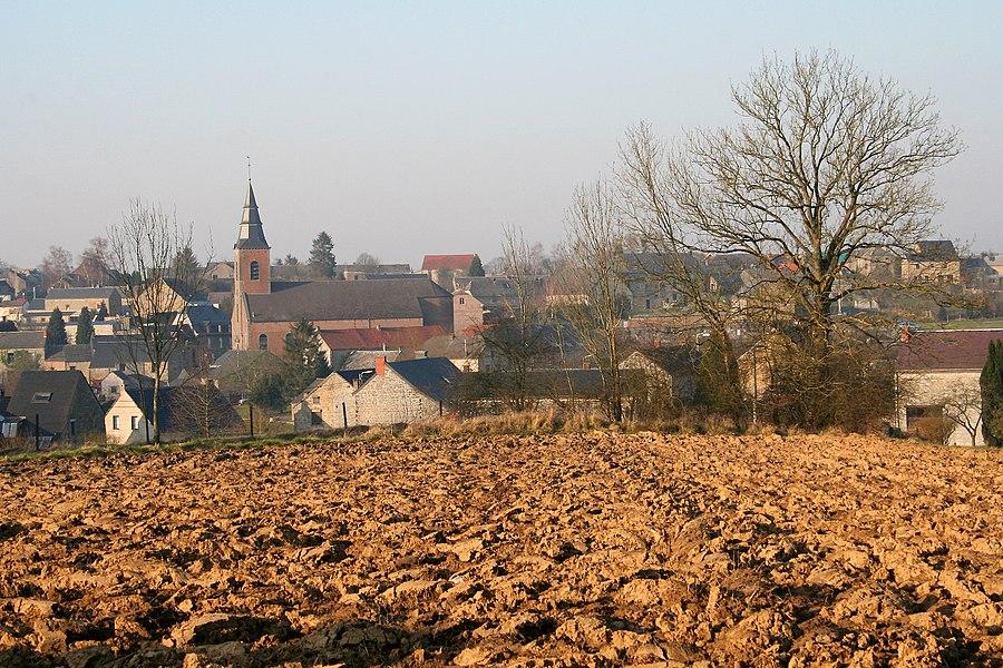 Évrehailles   (Belgium), the town viewed  from the rue d'Évrehailles.