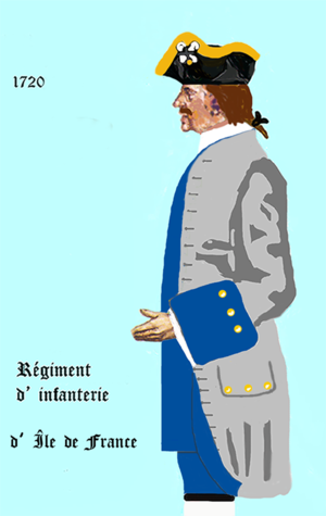 Facing colour - Régiment d'Ile-de-France (1720) with blue facings