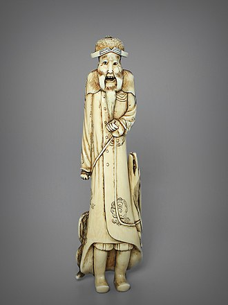 Fernão Mendes Pinto - Netsuke miniature of Pinto, by carver Yomeisai, 19th century, ivory, height 132 mm