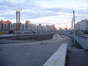 Troieshchyna - Typical skyline of Troieschyna as seen from the light rail's Myloslavska Street Station.