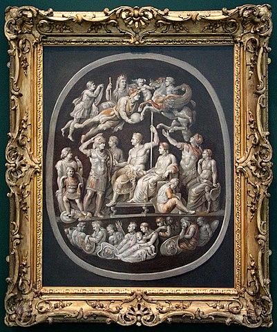 Гемма Тиберия, открытая Клодом-Николя де Пейреском в 1620 году. В 1621 году он предложил Рубенсу расшифровать её сюжет. Холст, масло 100×82,6см. Оксфорд, Эшмоловский музей