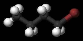 1-Bromobutane - Image: 1 bromobutane 3D balls