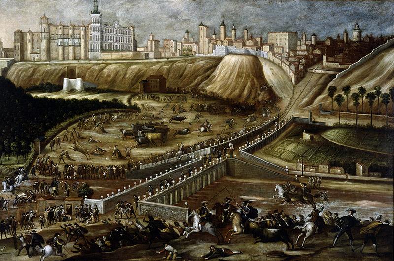 Vista del Alcázar Real de Madrid y entorno del Viejo Puente de Segovia, Museo Soumaya, hacía 1670. CC Wikicommons