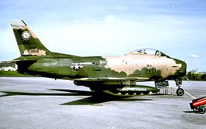 174th Attack Wing - 138th Tactical Fighter Squadron F-86H Sabre 53-1519 about 1966 in Vietnam War camouflage