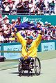141100 - Wheelchair tennis David Hall Australian flag - 3b - 2000 Sydney match photo.jpg