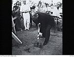 145728 Mr Ito, Vice President of the Hiroshima Peace Society, formally digs up soil to plant a Peace Tree (camphor wood variety).JPG