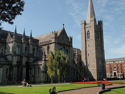 St Patrick's Cathedral, Dublin, is the national Cathedral of the Church of Ireland. 14 St. Patricks Cathedral, Dublin.jpg