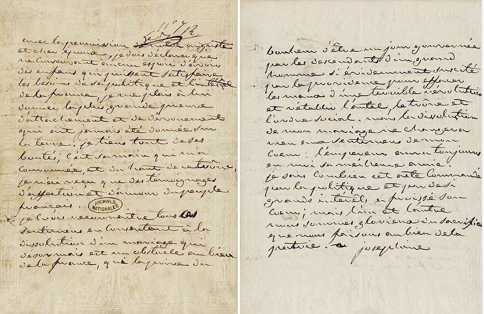 1809 Lettre Josephine a Napoleon