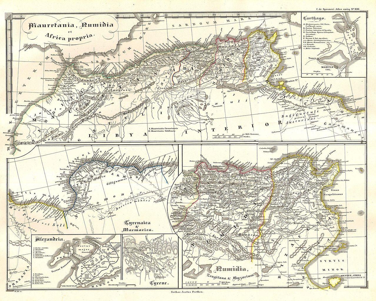 roman north africa map File 1855 Spruneri Map Of North Africa In Ancient Times Carthage roman north africa map