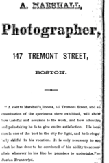 1871 A Marshall photographer advert 147 Tremont Street in Boston USA.png