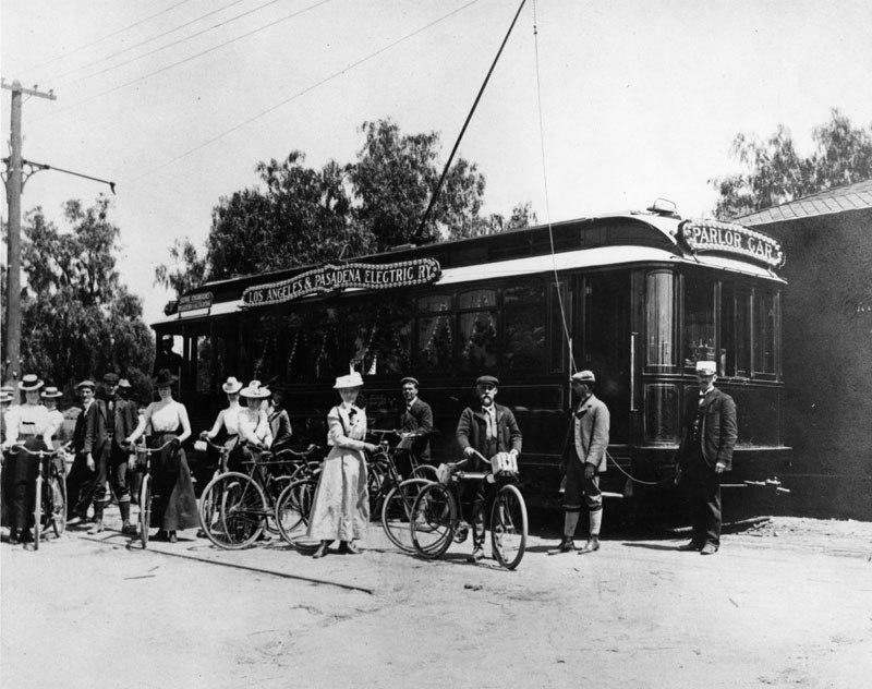 1894, Los Angeles & Pasadena Railway Company parlor car the Altadena station