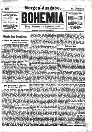 The Aeroplanes at Brescia - Part of its publication in Bohemia, 29 September 1909
