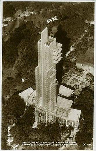 Thomas S. Tait - 1938 Festival Tower aerial Empire Exhibition postcard Bellahouston Park, Glasgow
