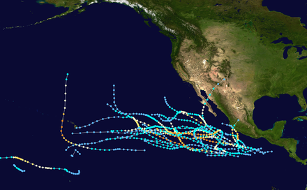 Track map of the 1992 Pacific hurricane season, the busiest ever recorded 1992 Pacific hurricane season summary map.png