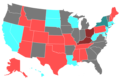 1998 United States Senate Election by Change of the Majority Political Affiliation of Each State's Delegation From the Previous Election.png