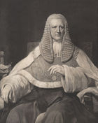 A black-and-white photograph of John Coleridge. He is wearing Justice's robes, a gold chain around his sholders, and a large ruffled wig.
