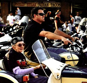 Sturgis Motorcycle Rally - Image: 2005 Sturgis Motorcycle Rally, Granny in sidecar