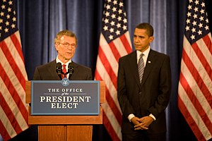 Tom Daschle - Daschle, standing with then-President-elect Barack Obama, speaks to reporters after the announcement of his selection to be Obama's nominee for the position of Secretary of Health and Human Services. (December 11, 2008)