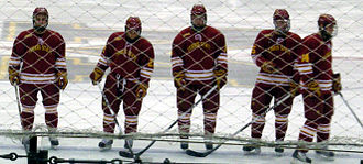 Ferris State Bulldogs - Ferris State's 2009-10 ice hockey starting lineup before a game against Michigan at Yost Ice Arena