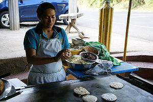 Pupusa - Making pupusas in Las Chinamas, El Salvador