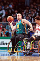 201000 - Wheelchair basketball Brad Ness passes - 3b - 2000 Sydney match photo.jpg
