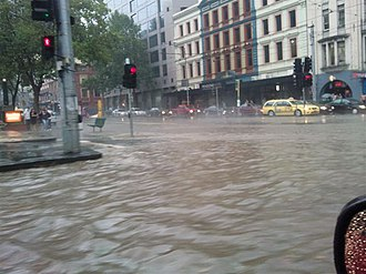 2010 Victorian storms - Flash flooding in the intersection of Flinders and Spencer Streets, Melbourne, 6 March 2010