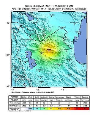 2012 East Azerbaijan earthquakes - USGS ShakeMap for the mainshock