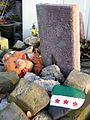 2013-03-02 Gravestone without name fallen teddy bear symbolising child and children killed by war, stone with painted syrian flag.jpg
