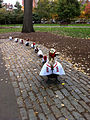 2013 Boston Public Garden ducklings Red Sox fans 25 October.jpg