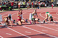 2013 IPC Athletics World Championships - 26072013 - Styliani Smaragdi of Greece, Megan Absten of USA, Anrune Liebenberg of South-Africa and Sheila Finder of Brasil during the Women's 100m - T46 first semifinal.jpg