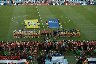 2014 FIFA World Cup knockout stage - Germany–Argentina line-up before kick-off