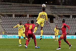Modibo Maïga - Maïga rising for a header in a friendly against Ghana, 31 March 2015